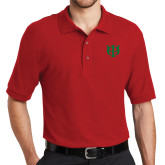 Red Easycare Pique Polo-Interlocking Greek Letters