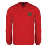 V Neck Red Raglan Windshirt-Interlocking Greek Letters