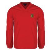 V Neck Red Raglan Windshirt-Crest