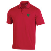 Under Armour Red Performance Polo-Interlocking Greek Letters