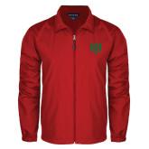 Full Zip Red Wind Jacket-Interlocking Greek Letters