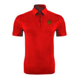 Red Horizontal Textured Polo-Crest
