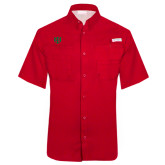 Columbia Tamiami Performance Red Short Sleeve Shirt-Interlocking Greek Letters