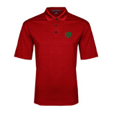 Red Performance Fine Jacquard Polo-Interlocking Greek Letters