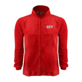 Fleece Full Zip Red Jacket-Greek Letters