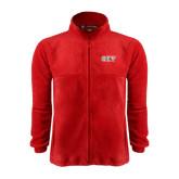 Fleece Full Zip Red Jacket-Greek Letters