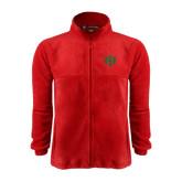 Fleece Full Zip Red Jacket-Interlocking Greek Letters