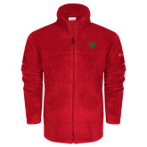 Columbia Full Zip Red Fleece Jacket-Interlocking Greek Letters