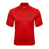 Red Textured Saddle Shoulder Polo-Interlocking Greek Letters