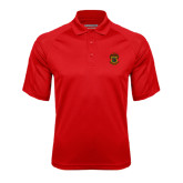 Red Textured Saddle Shoulder Polo-Crest
