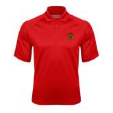 Red Textured Saddle Shoulder Polo-Crest