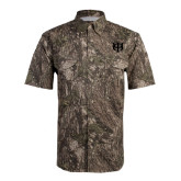 Camo Short Sleeve Performance Fishing Shirt-Interlocking Greek Letters