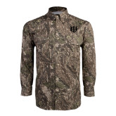Camo Long Sleeve Performance Fishing Shirt-Interlocking Greek Letters