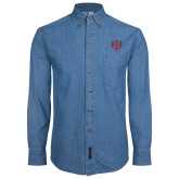 Denim Shirt Long Sleeve-Interlocking Greek Letters