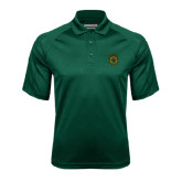 Dark Green Textured Saddle Shoulder Polo-Crest