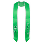 Green Graduation Stole w/White Trim-Small Greek Letters Tackle Twill Stacked
