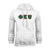 White Fleece Hoodie-Greek Letters Tackle Twill, Tackle Twill