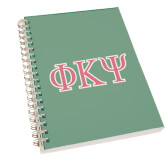 Clear 7 x 10 Spiral Journal Notebook-Greek Letters