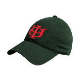 Dark Green Twill Unstructured Low Profile Hat-Interlocking Greek Letters