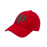 Red Twill Unstructured Low Profile Hat-Interlocking Greek Letters