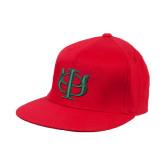 Red OttoFlex Flat Bill Pro Style Hat-Interlocking Greek Letters