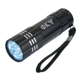 Industrial Triple LED Black Flashlight-Greek Letters Engraved