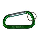 Green Carabiner with Split Ring-PHI KAPPA PSI Engraved