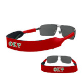 Croakies Red Wide Band Sunglasses Strap-Greek Letters