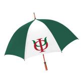 62 Inch Forest Green/White Umbrella-Interlocking Greek Letters