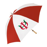 62 Inch Red/White Vented Umbrella-Interlocking Greek Letters