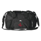 High Sierra Black Switch Blade Duffel-Interlocking Greek Letters