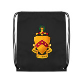 Black Drawstring Backpack-Crest