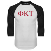 White/Black Raglan Baseball T Shirt-Greek Letters