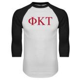 White/Black Raglan Baseball T Shirt-Greek Letters