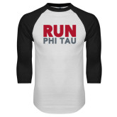 White/Black Raglan Baseball T Shirt-Run Phi Tau