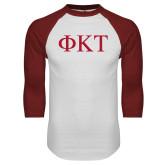 White/Cardinal Raglan Baseball T Shirt-Greek Letters