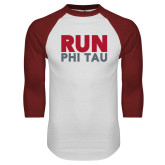White/Cardinal Raglan Baseball T Shirt-Run Phi Tau