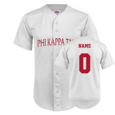 Replica White Adult Baseball Jersey-Personalized Arched Phi Kappa Tau