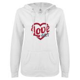 ENZA Ladies White V Notch Raw Edge Fleece Hoodie-Love Phi Tau Heart