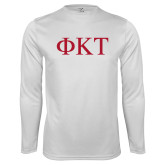 Syntrel Performance White Longsleeve Shirt-Greek Letters