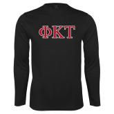 Performance Black Longsleeve Shirt-Greek Letters - Two Color
