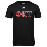 Adidas Climalite Black Ultimate Performance Tee-Greek Letters - Two Color