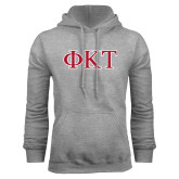 Grey Fleece Hoodie-Greek Letters - Two Color
