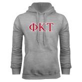 Grey Fleece Hoodie-Greek Letters - Two Color
