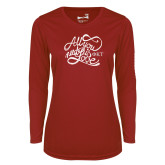 Ladies Syntrel Performance Cardinal Longsleeve Shirt-All You Need Is Love