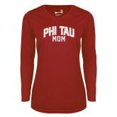 Ladies Syntrel Performance Cardinal Longsleeve Shirt-Phi Tau Mom