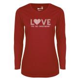 Ladies Syntrel Performance Cardinal Longsleeve Shirt-Love Phi Tau