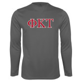 Performance Steel Longsleeve Shirt-Greek Letters - Two Color