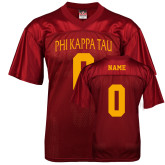 Replica Cardinal Adult Football Jersey-Personalized Arched Phi Kappa Tau