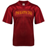 Replica Cardinal Adult Football Jersey-Generic Arched Phi Kappa Tau